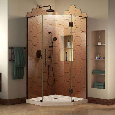 Prism Plus 36 in. x 36 in. x 74.75 in. Frameless Hinged Neo-Angle Shower Enclosure in Oil Rubbed Bronze with Shower Base
