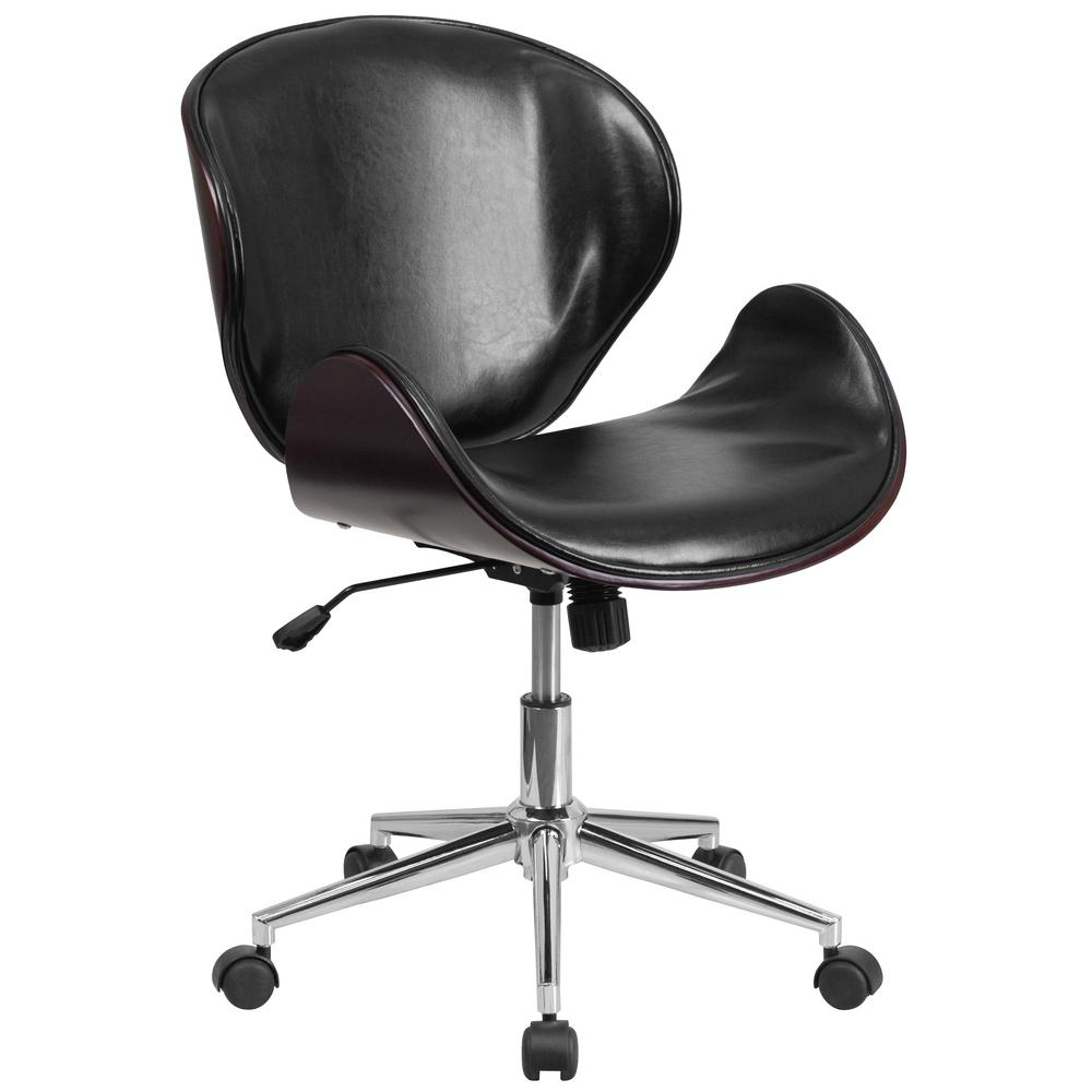 Flash Furniture Mid Back Mahogany Wood Swivel Conference Chair In Black  Leather