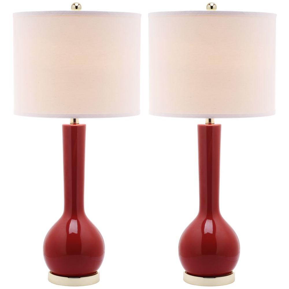 Safavieh Mae 30.5 in. Chinese Red Long Neck Ceramic Table Lamp (Set of 2)