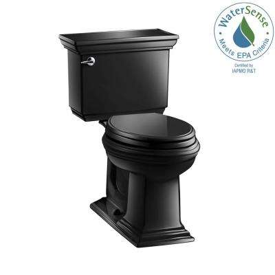 Memoirs Stately 2-piece 1.28 GPF Single Flush Elongated Toilet with AquaPiston Flush Technology in Black Black