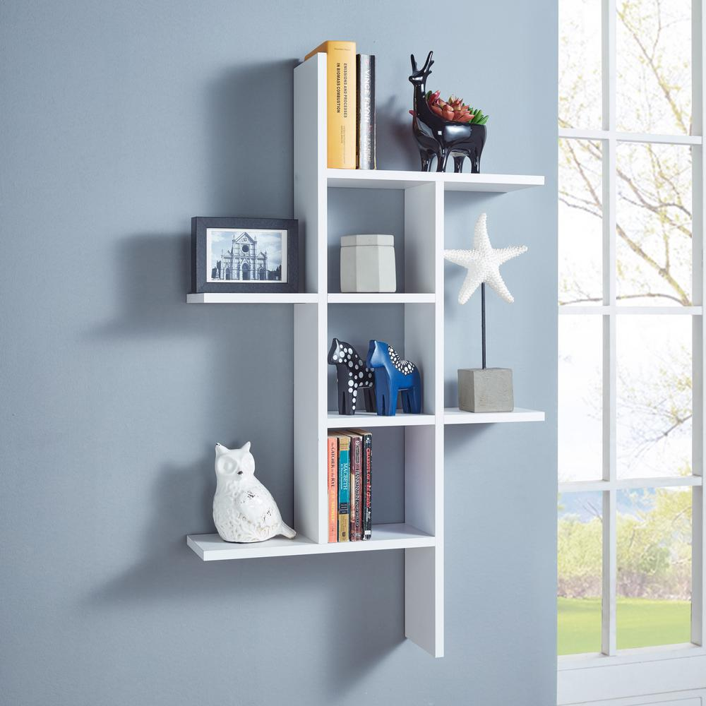 Home Decorators Collection 11 8 In X 11 8 X 2 In H White Mdf Floating Corner Wall Shelf