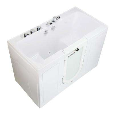 Tub4Two 60 in. Acrylic Walk-In MicroBubble Air Bathtub in White, Left Outward Door, Fast Fill Faucet, 2 in. Dual Drain