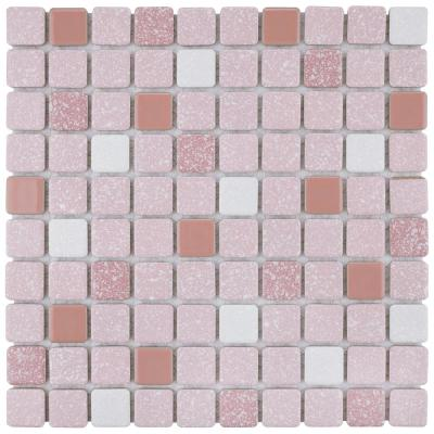 Crystalline Square 12 in. x 12 in. Pink Porcelain Mosaic Tile (9.79 sq. ft. / Case)