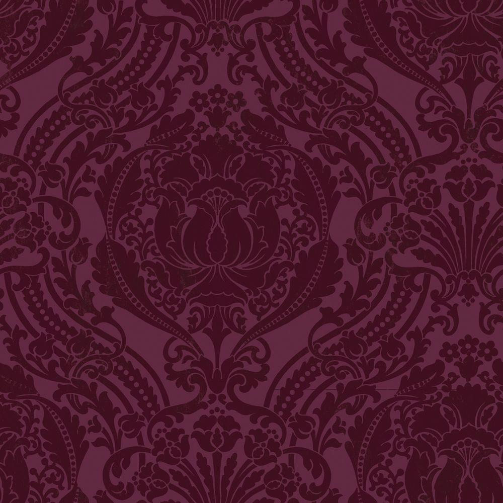 The Wallpaper Company 56 sq. ft. Purple Grandiose Damask Wallpaper-DISCONTINUED