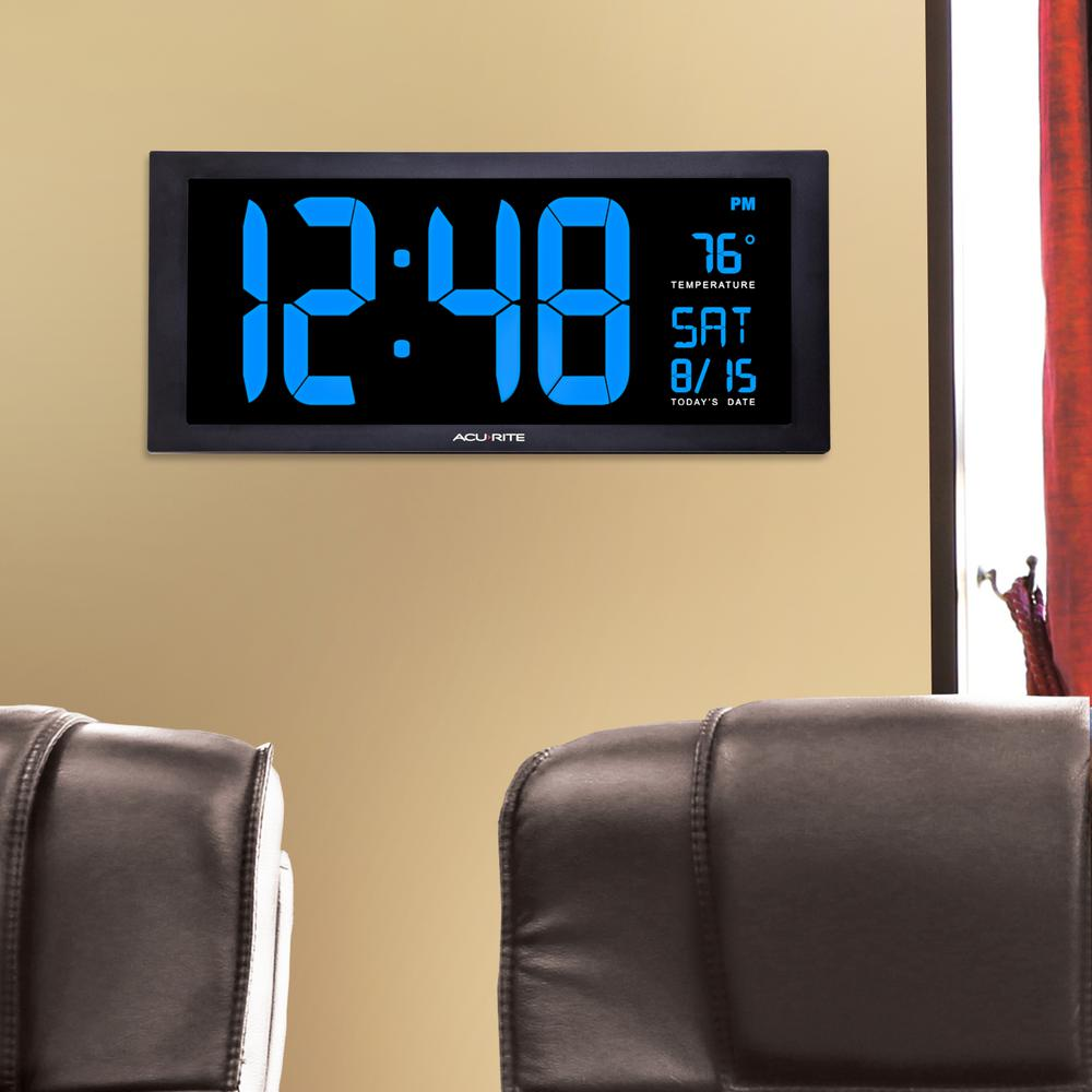AcuRite 18 in Large LED Clock with Indoor Temperature in Blue