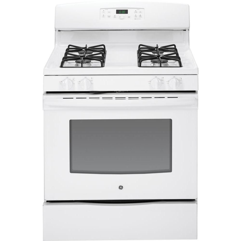 GE 5.0 cu. ft. Gas Range with Self-Cleaning Oven in White