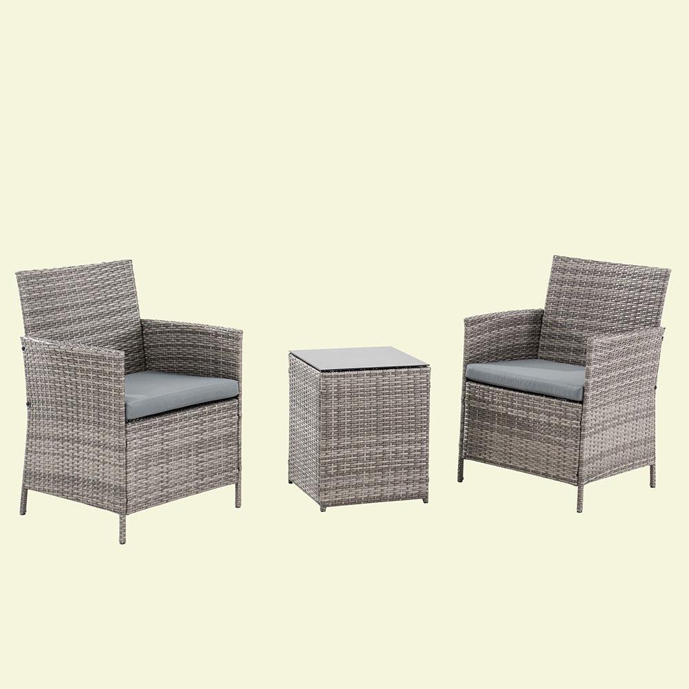 Sunjoy 3 Piece Wicker Outdoor Bistro Set with Gray Cushions