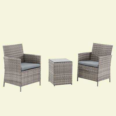 3 Piece Wicker Outdoor Bistro Set with Gray Cushions