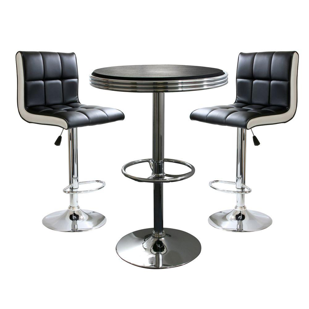 Retro Style Bar Table Set In Black With Adjule Height Vinyl And Chairs 3 Piece