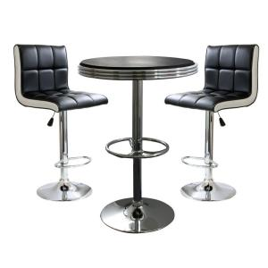 AmeriHome Retro Style Bar Table Set in Black with Padded Vinyl Chairs (3-Piece) by AmeriHome