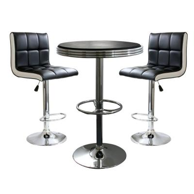 Retro Style Bar Table Set in Black with Padded Vinyl Chairs (3-Piece)