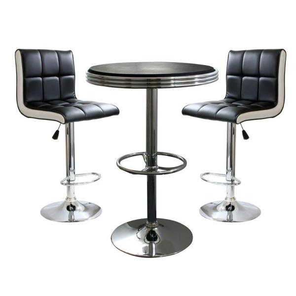 Exceptionnel AmeriHome Retro Style Bar Table Set In Black With Padded Vinyl Chairs  (3 Piece
