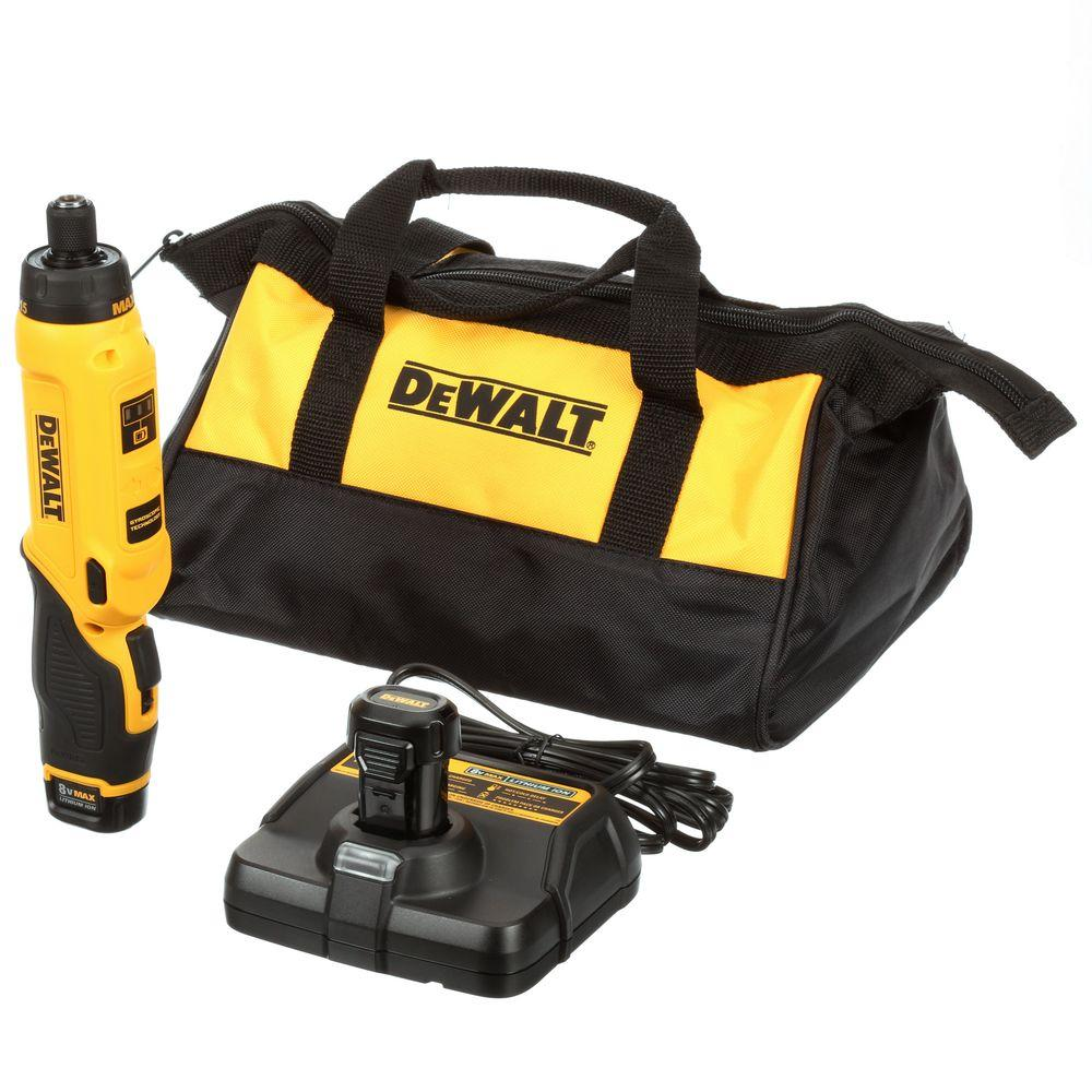 DEWALT 8-Volt MAX Lithium-Ion Cordless Gyroscopic Screwdriver with Adjustable Handle with (2) Batteries 1Ah, Charger and Bag