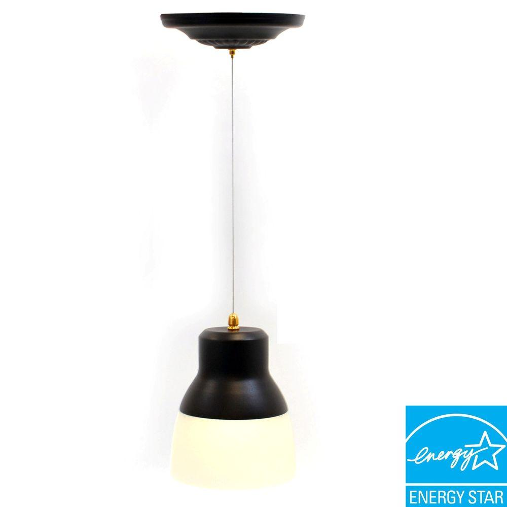 It's Exciting Lighting Oil Rubbed Bronze Battery Operated 24-LED Ceiling Mount Pendant with Frosted Glass Shade