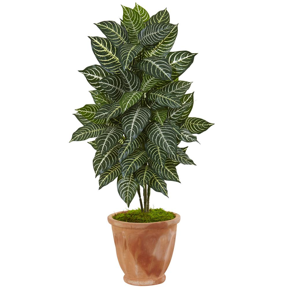 nearly natural indoor zebra artificial plant in terracotta planter 6319 the home depot. Black Bedroom Furniture Sets. Home Design Ideas