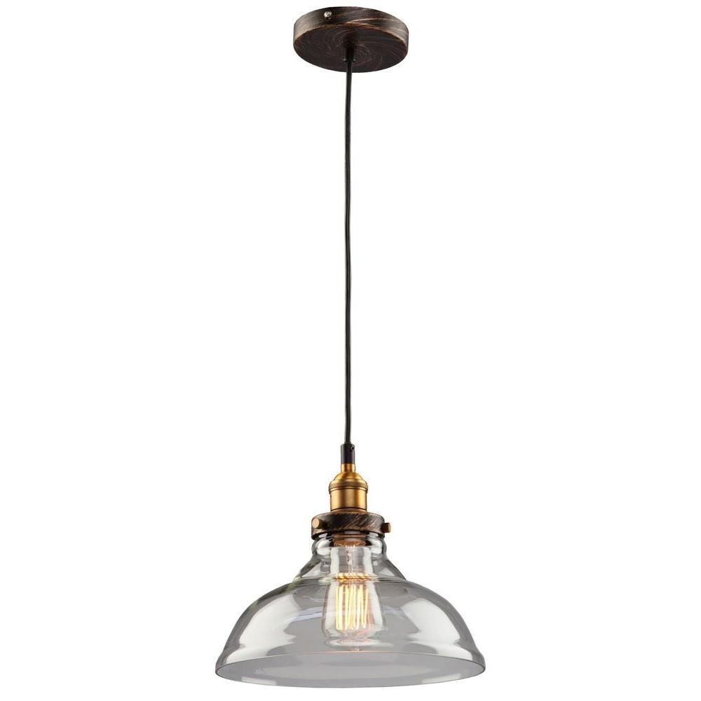 Greenwich 1-Light Copper and Multi-Tone Brown Mini-Pendant