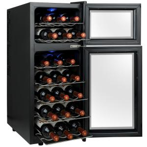 21bottle dual zone wine cooler in black with dual door and touch controls