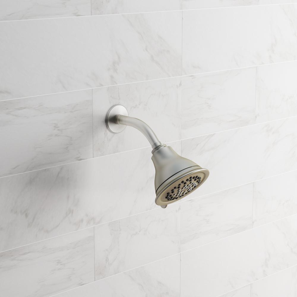 Envi 3-Spray 4 in. Single Wall Mount Fixed Shower Head in Brushed Nickel