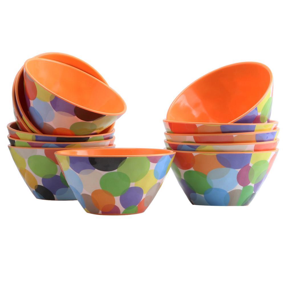 Party Circles Orange Melamine Bowl (Set of 12)