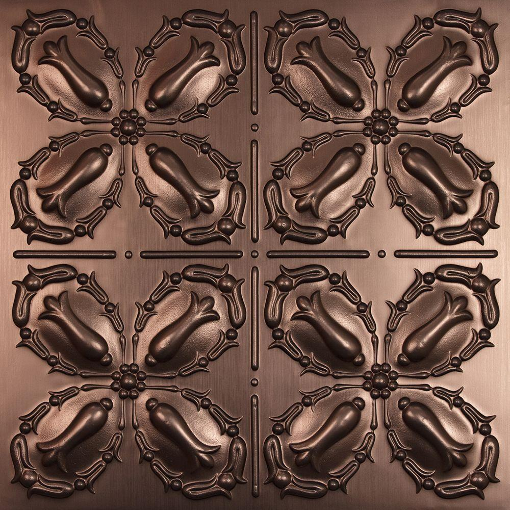 Ceilume Orleans Faux Bronze 2 ft. x 2 ft. Lay-in or Glue-up Ceiling Panel (Case of 6)