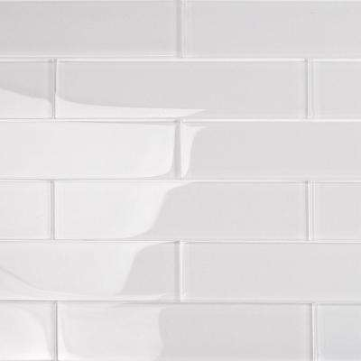 Contempo Super White 2 in. x 8 in. x 8mm Polished Glass Floor and Wall Tile (1 sq. ft.)
