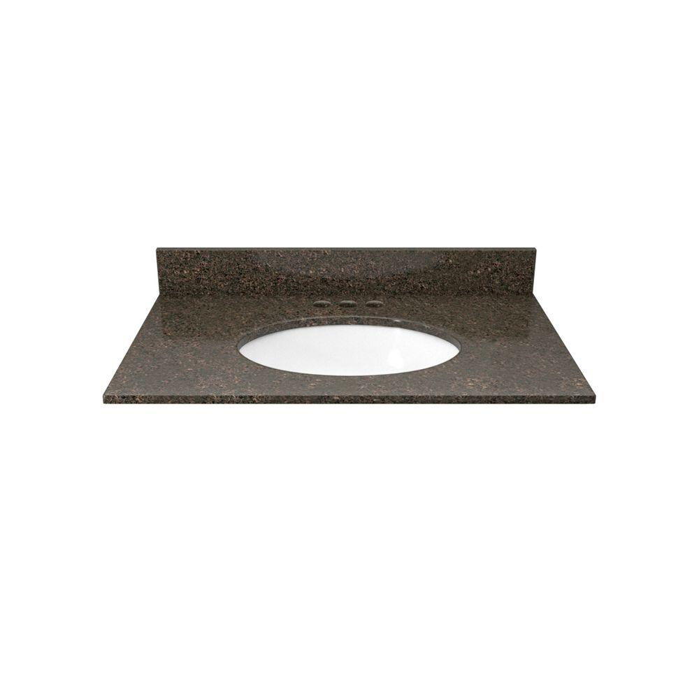 Solieque 25 in. Granite Vanity Top in Coffee Brown with White Basin