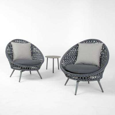 Bloom 3 Piece Patio Conversation Set With Grey Cushions