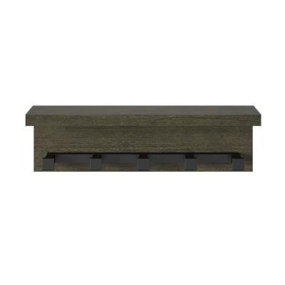Yellowstone 20.47 in. Wall Shelf in Weathered Oak with Hooks
