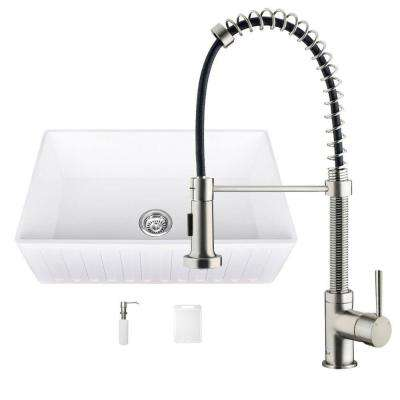 All-in-One 33 in. 0-Hole Matte Stone Farmhouse Kitchen Sink and Edison Stainless Steel Faucet Set