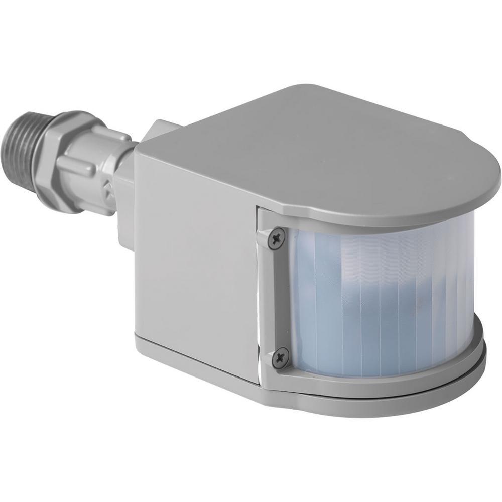 Progress Lighting 180-Degree Metallic Gray Motion Sensing Outdoor Flood Light