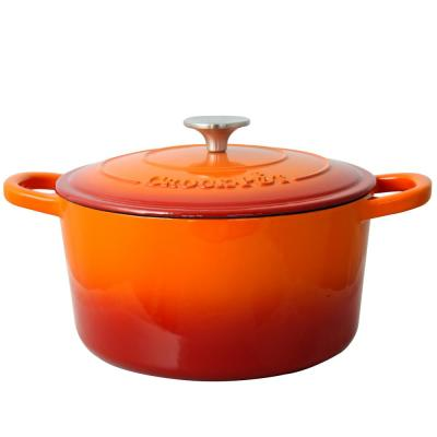 Artisan 5 qt. Round Cast Iron Nonstick Dutch Oven in Sunset Orange with Lid