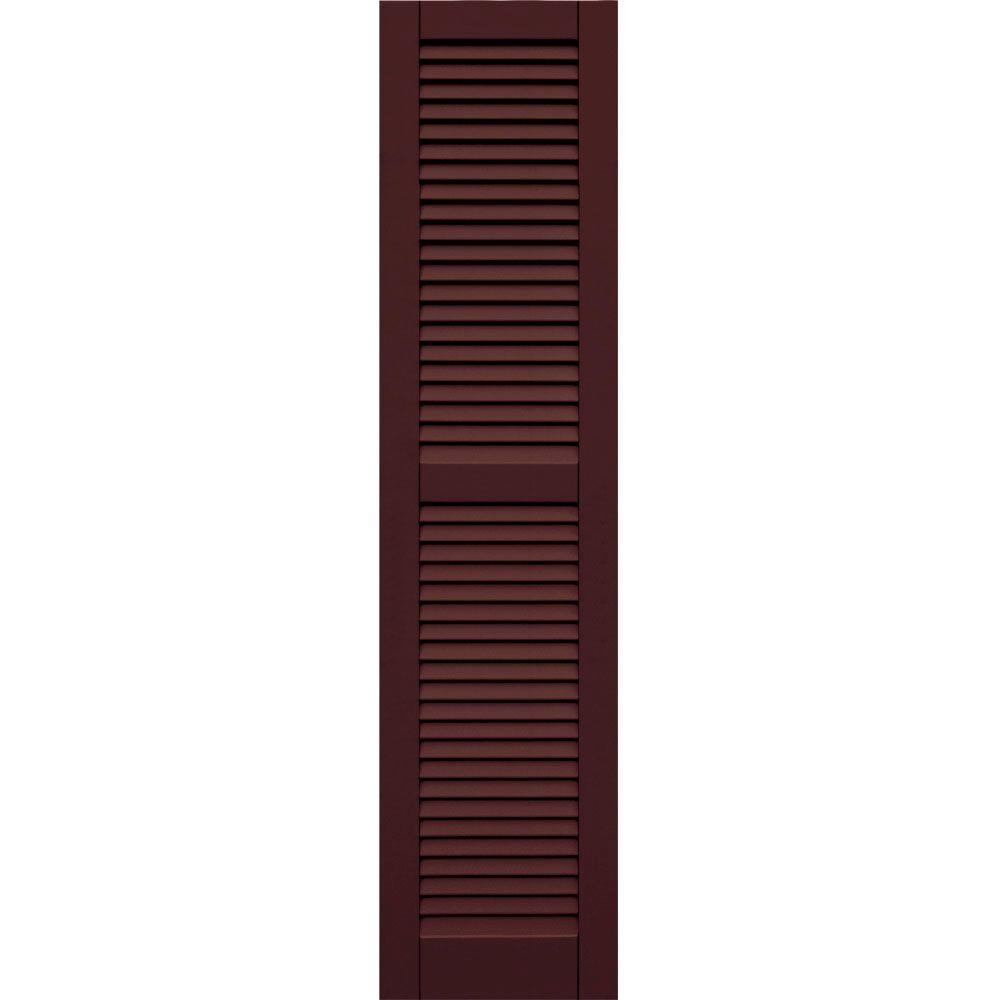 Winworks Wood Composite 15 in. x 63 in. Louvered Shutters Pair #657 Polished Mahogany