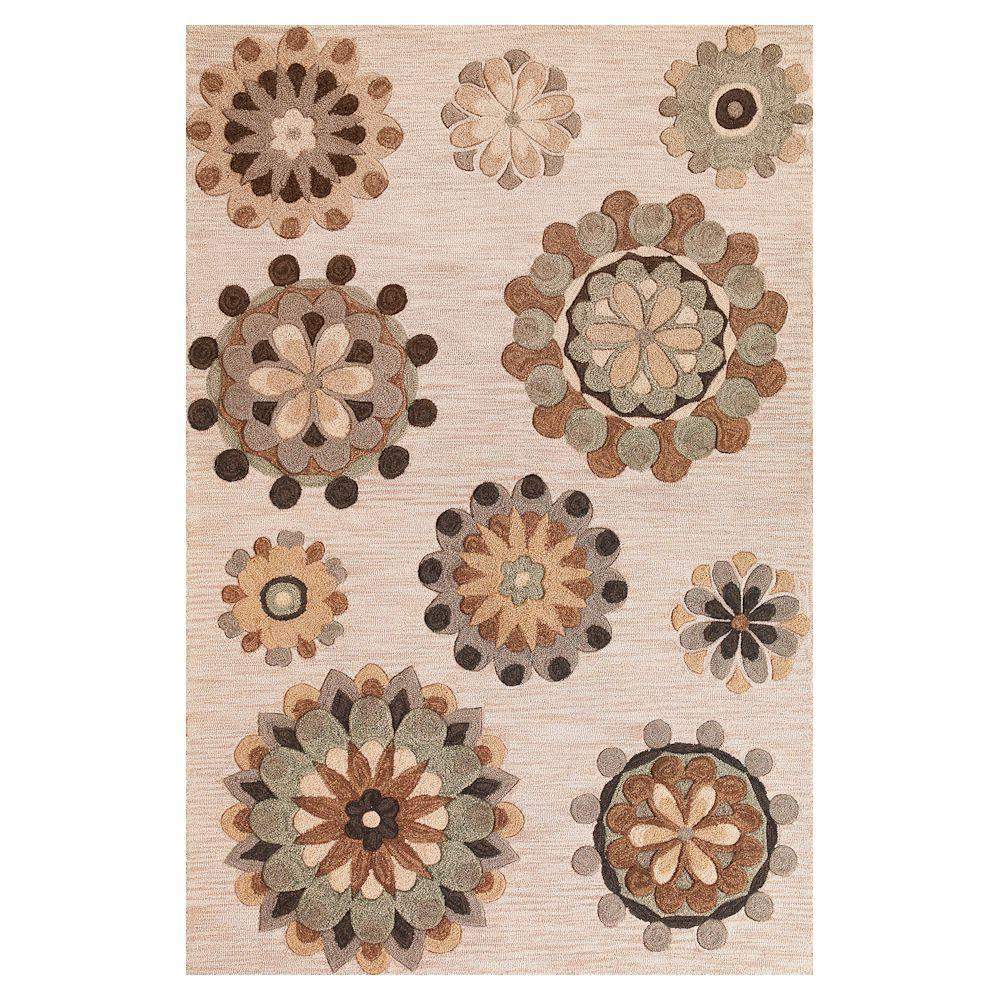 Kas Rugs Wheels are Turning Beige 9 ft. x 13 ft. Area Rug