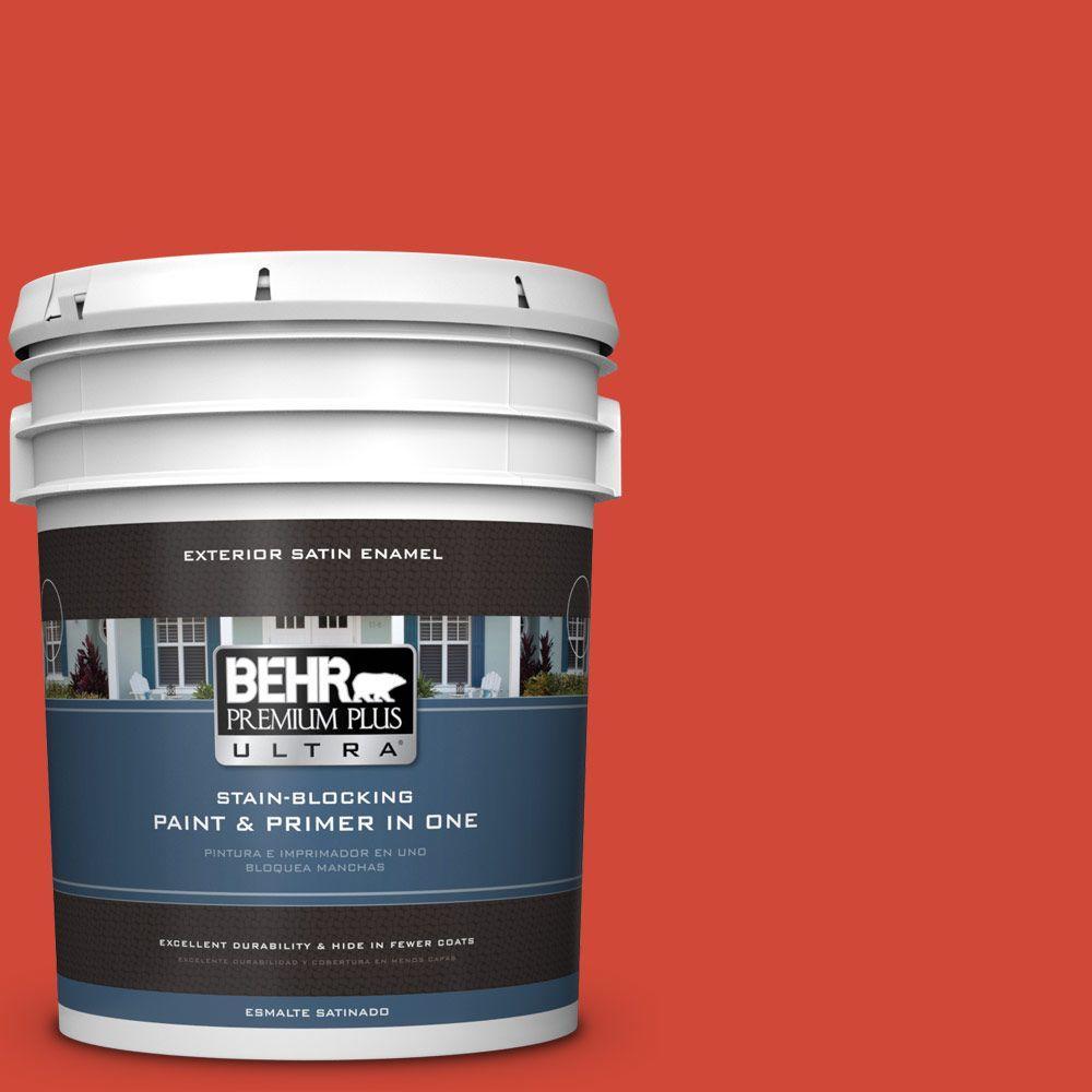 BEHR Premium Plus Ultra 5-gal. #P180-7 Top Tomato Satin Enamel Exterior Paint
