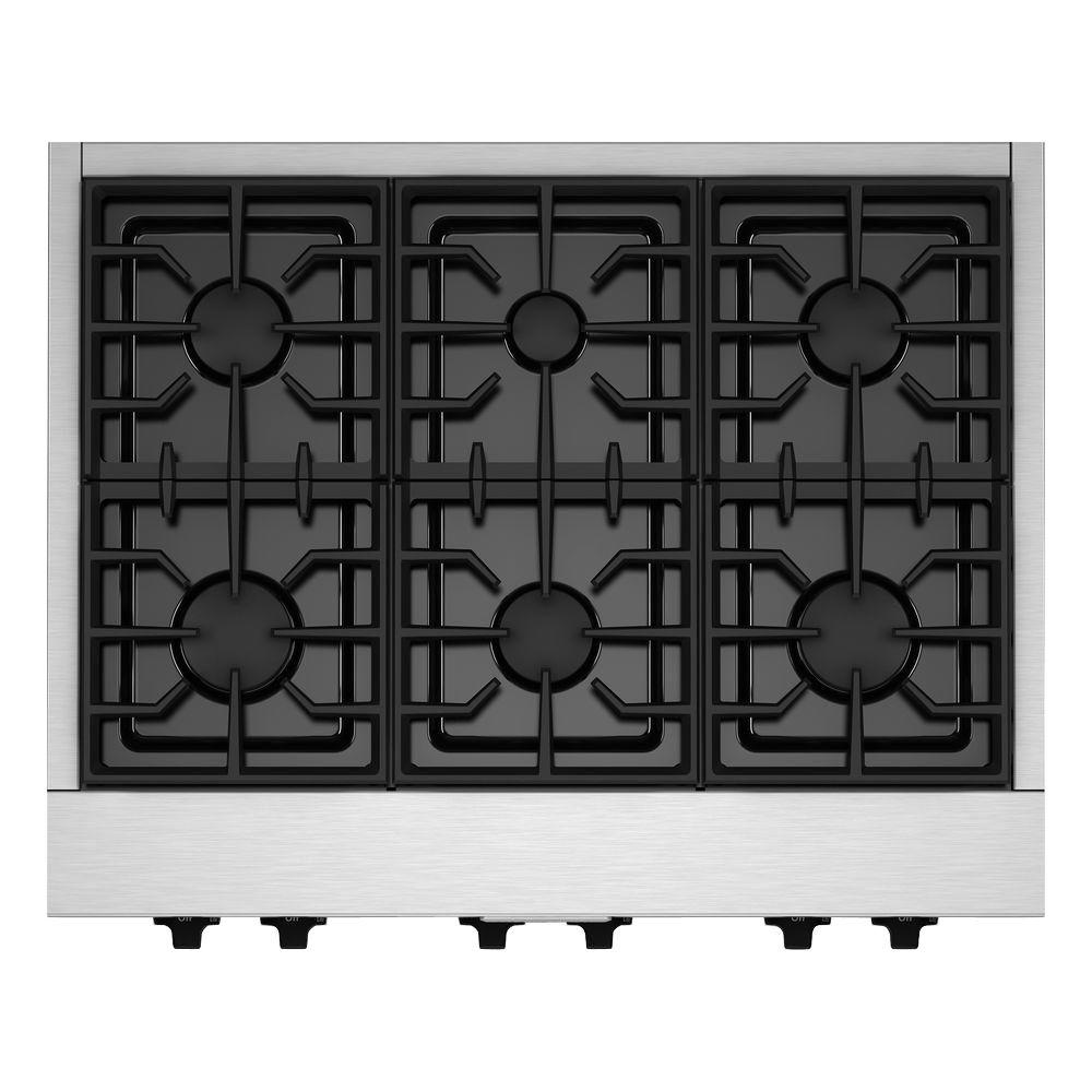 36 in. Gas Cooktop in Stainless Steel with 6 Burners including