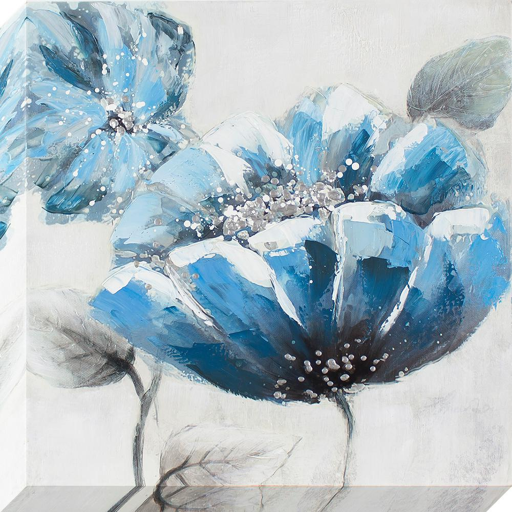 Decor Therapy 24 In X 24 In Blue Poppy Oil Painted Canvas Wall Art
