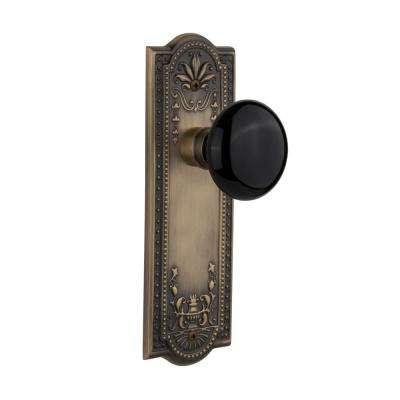 Meadows Plate 2-3/8 in. Backset Antique Brass Passage Black Porcelain Door Knob