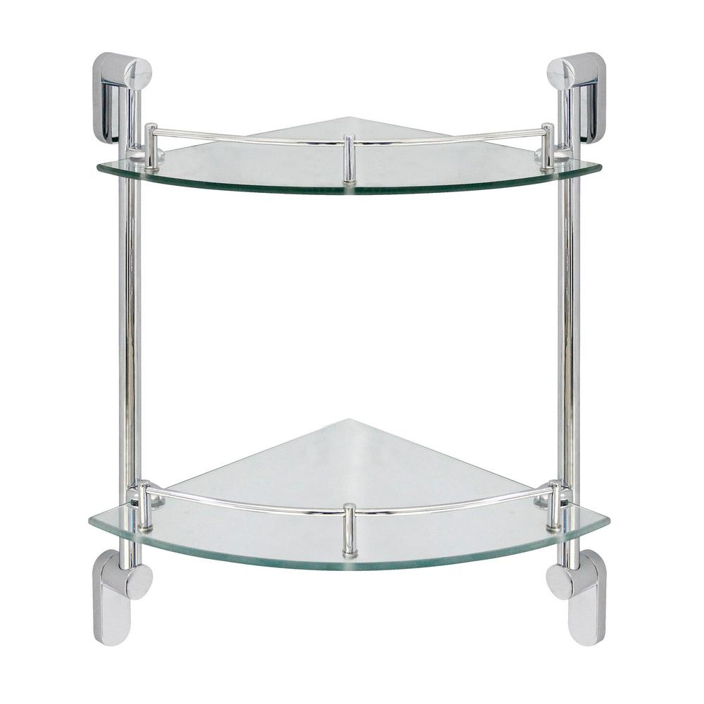 Oval 10.5 in. W Double Glass Corner Shelf with Pre-Installed Rails