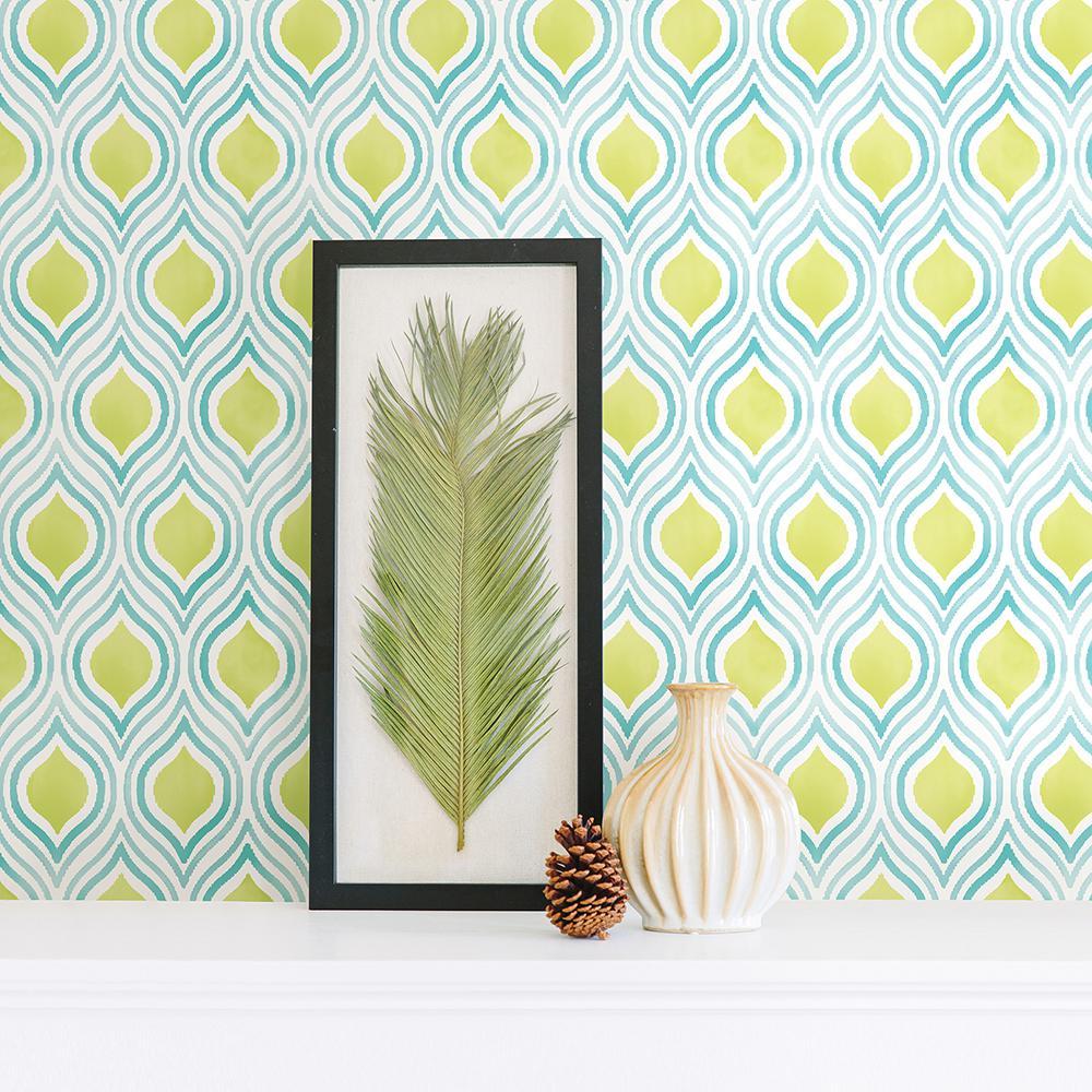 Plume Green Ogee Wallpaper