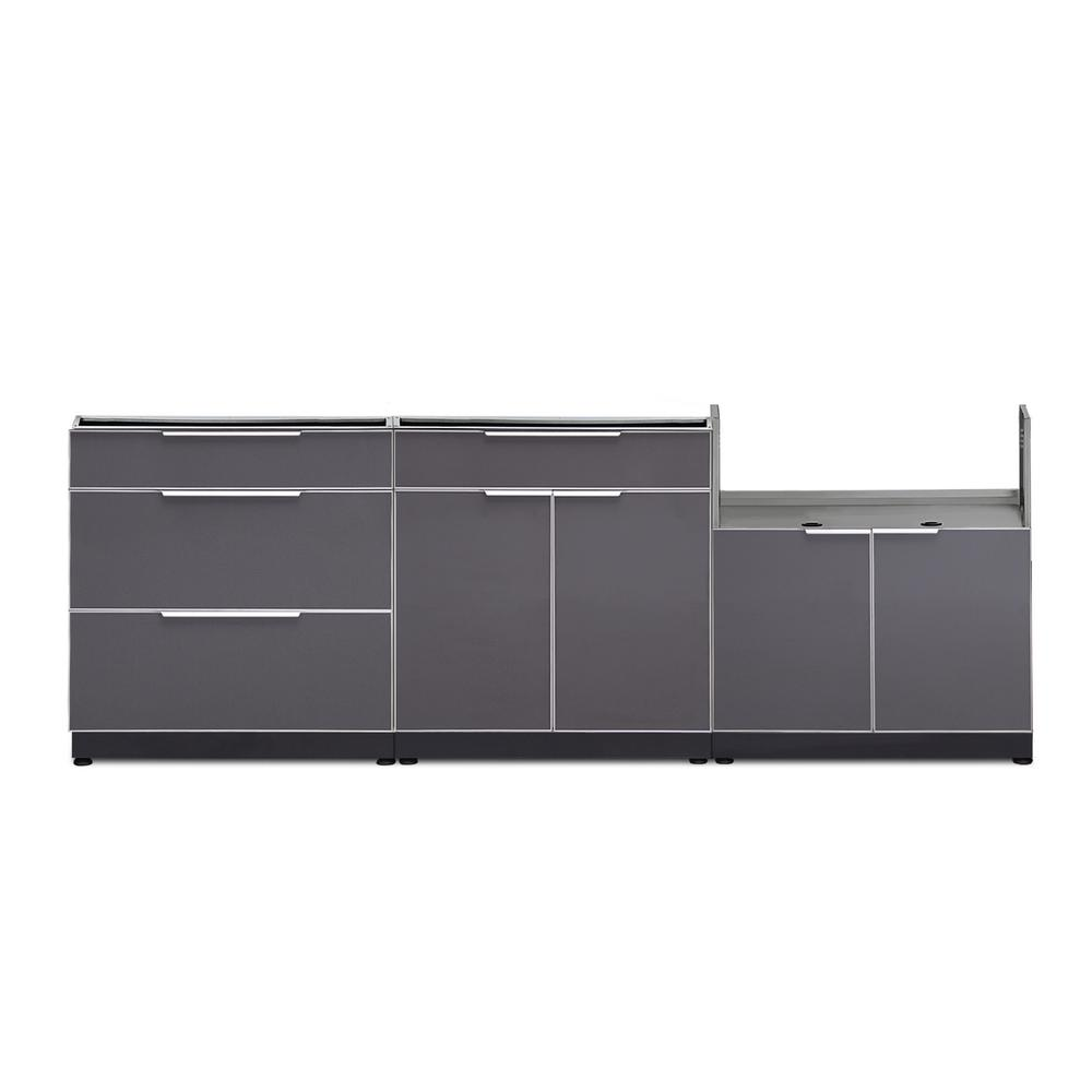 NewAge Products Aluminum Slate 3-Piece 97x36x24 in. Outdoor Kitchen Cabinet Set without Counter Tops