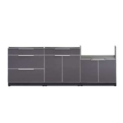 Slate Gray 3-Piece 97 in. W x 36.5 in. H x 24 in. D Outdoor Kitchen Cabinet Set without Counter Tops