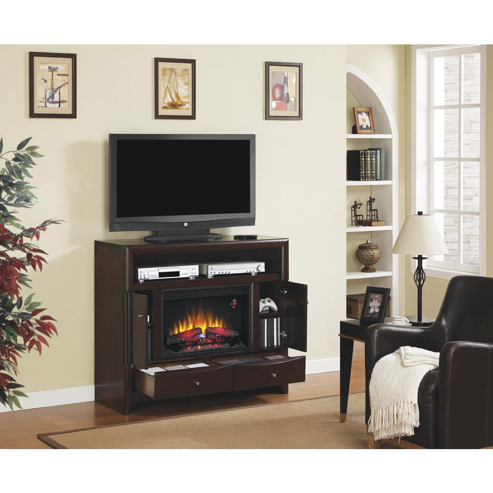 null Delray 47.5 in. Convertible Media Console Electric Fireplace in Roasted Walnut
