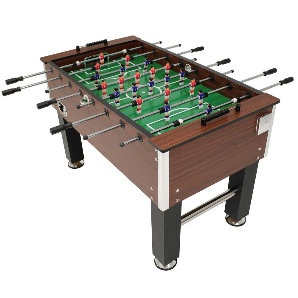 Sunnydaze Decor 55 In Faux Wood Foosball Table With Folding Drink Holders