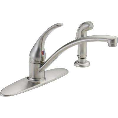 Foundations Single-Handle Standard Kitchen Faucet with Side Sprayer in Stainless