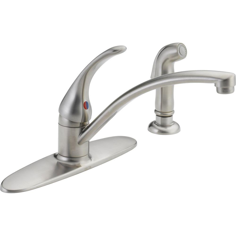 delta foundations single handle standard kitchen faucet with side sprayer in stainless - Delta Faucets Kitchen