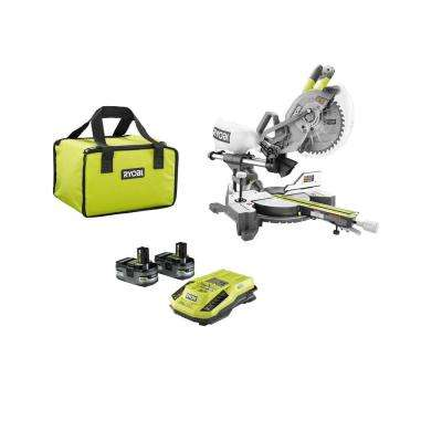18-Volt ONE+ Lithium-Ion Cordless Brushless 10 in. Dual Bevel Sliding Miter Saw Starter Kit with (2) Batteries, Charger