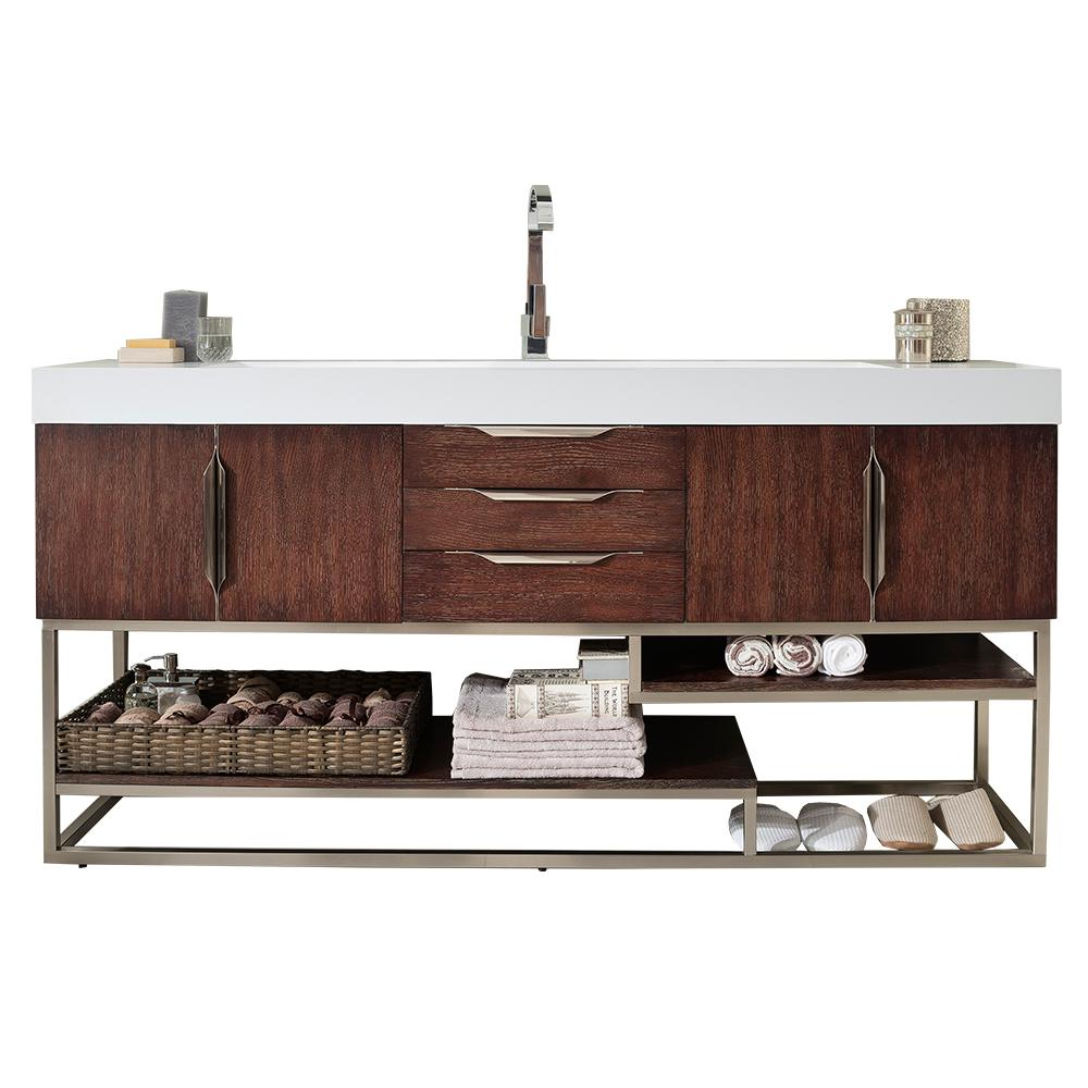 James Martin Vanities Columbia 72 in. W Single Bath Vanity in Coffee Oak-Nickle with Solid Surface Vanity Top in Matte White with White Basin