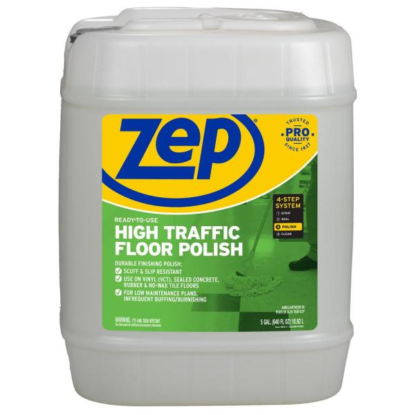 Zep, ZPEZUHTFF128, High-Traffic Floor Finish, 1 Each, Clear,Green
