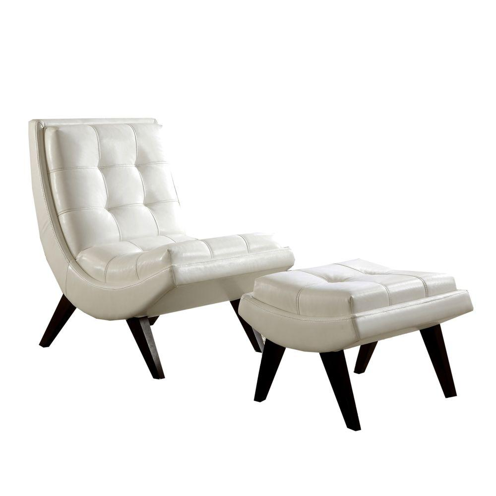 HomeSullivan White Faux Leather Chair With Ottoman
