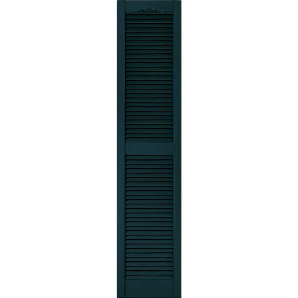 Builders Edge 15 in. x 67 in. Louvered Vinyl Exterior Shutters Pair in #166 Midnight Blue
